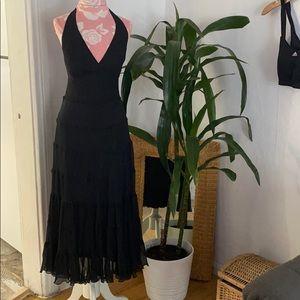 Jones New York black Halter Top Silk Midi Dress 4